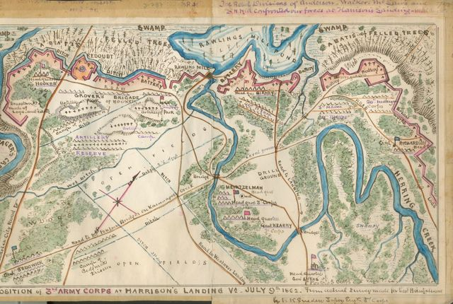 Position of 3rd Army Corps at Harrison's Landing, Va., July 9th 1862. From actual survey made for Genl. Heintzelman /