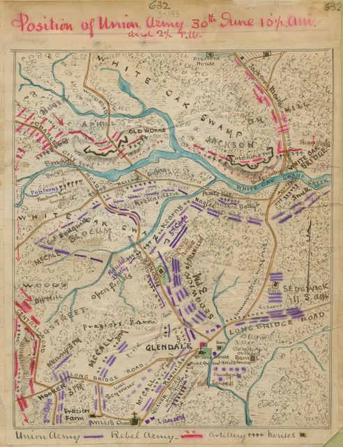 Position of Union Army 30th June 10 1/2 a.m. and 2 1/2 p.m.