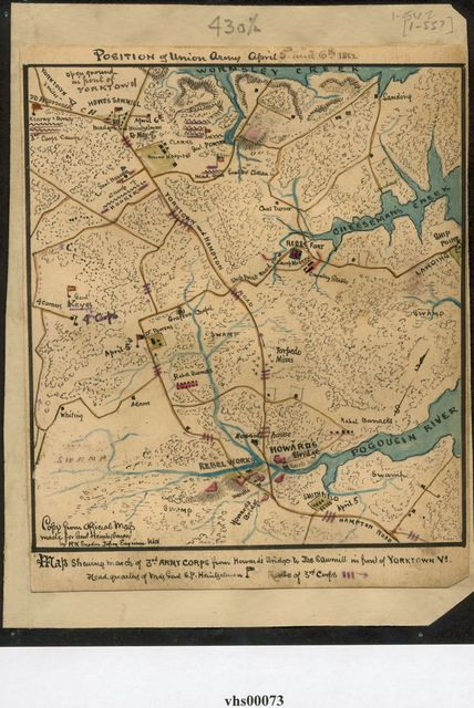 Position of Union Army April 5th and 6th 1862