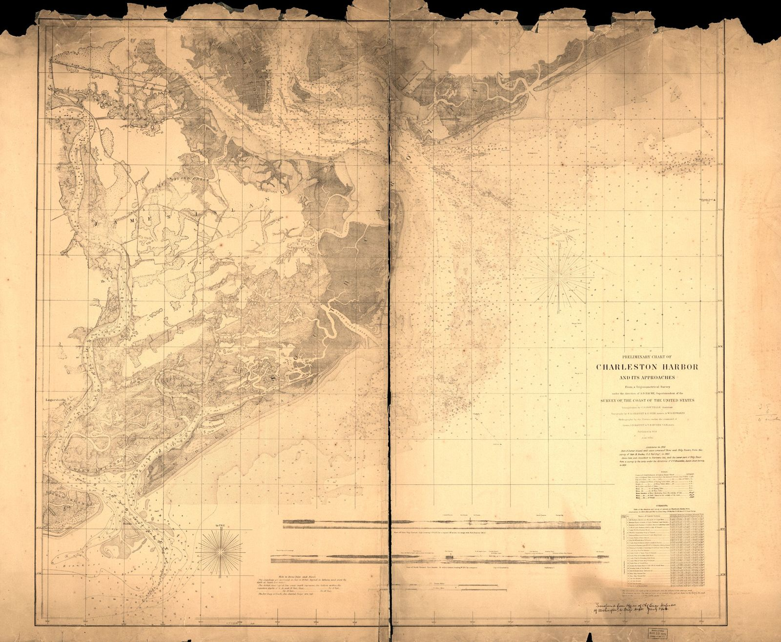 Preliminary chart of Charleston Harbor and its approaches.