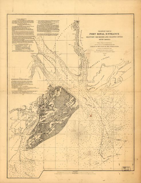 Preliminary chart of Port Royal entrance. Beaufort, Chechessee, and Colleton Rivers, South Carolina