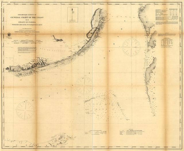 Preliminary edition of general chart of the coast no. X, Sraits of Florida from Key Biscayne to Marquesas Keys