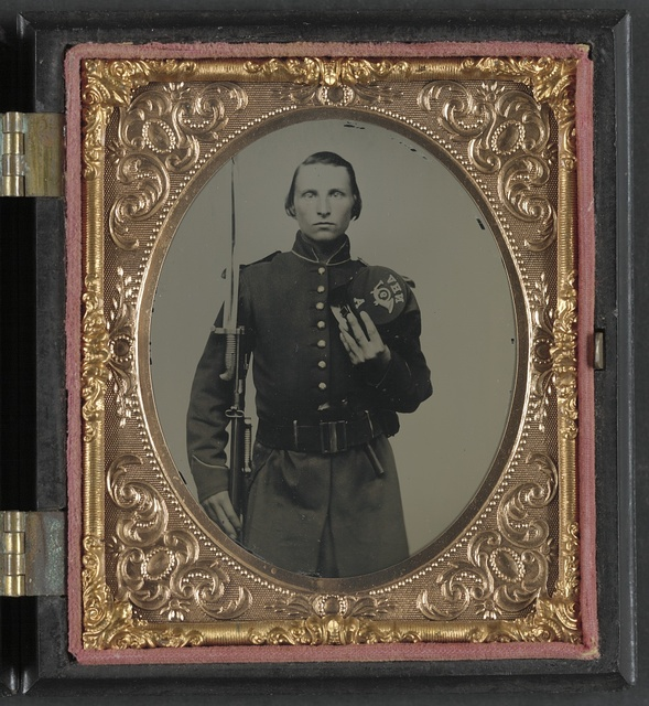 [Private Charles M. Judkins of Company A, 9th New Hampshire Infantry Regiment, and Company G, 6th U.S. Veteran Reserve Corps Infantry Regiment with bayoneted musket]