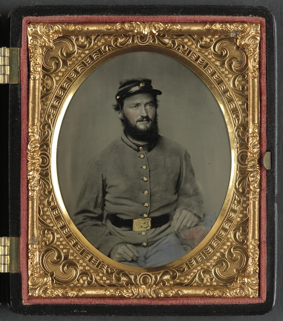 [Private Raymond Gause or Gouse of Co. B, 22nd Pennsylvania Cavalry Regiment, in uniform]