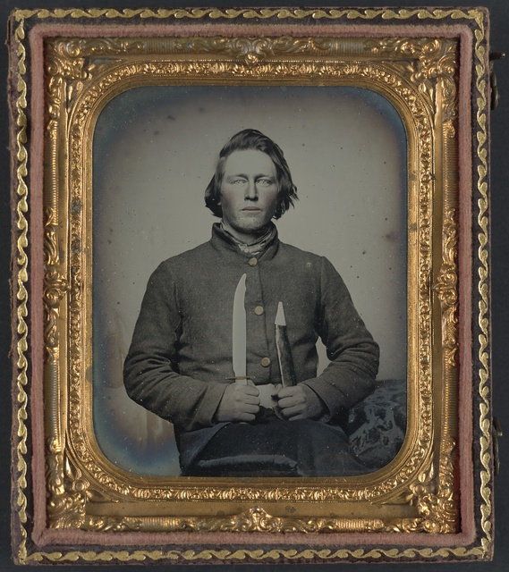 [Private Samuel H. Wilhelm of I Company, 4th Virginia Infantry Regiment with knife]