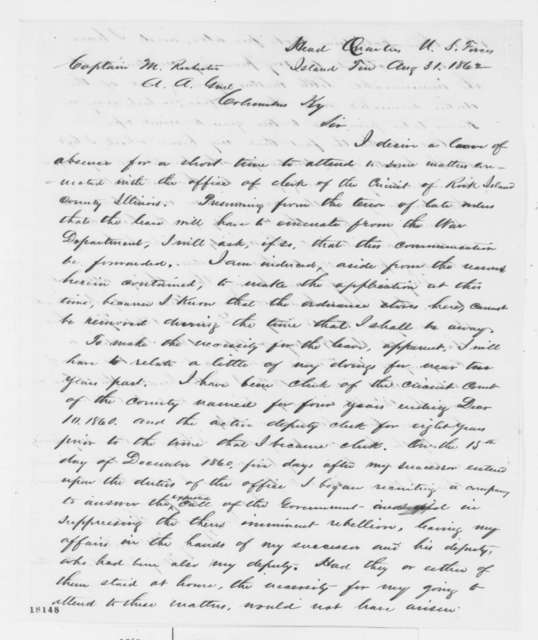 Quincy McNeil to Montgomery Rochester, Sunday, August 31, 1862  (Requests leave of absence; endorsed by J.F. Tinnsley, U. S. Grant and Halleck)