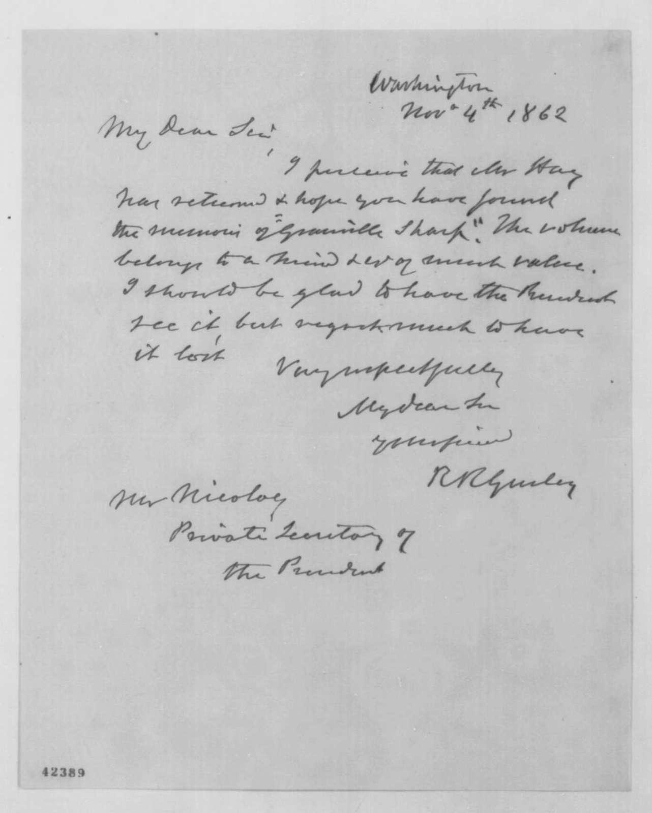 Ralph R. Gurley to John G. Nicolay, Tuesday, November 04, 1862  (Sends book)