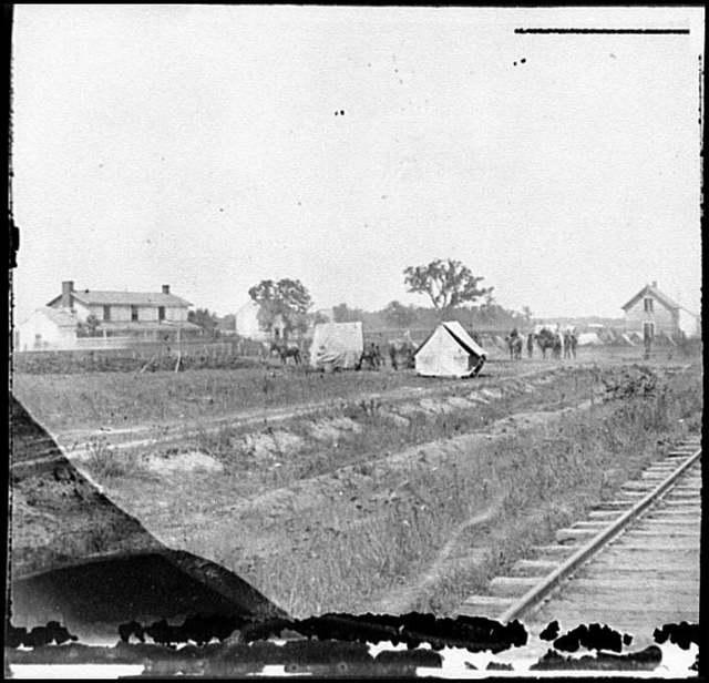 [Rappahannock Station, Va. Federal encampment near railroad]