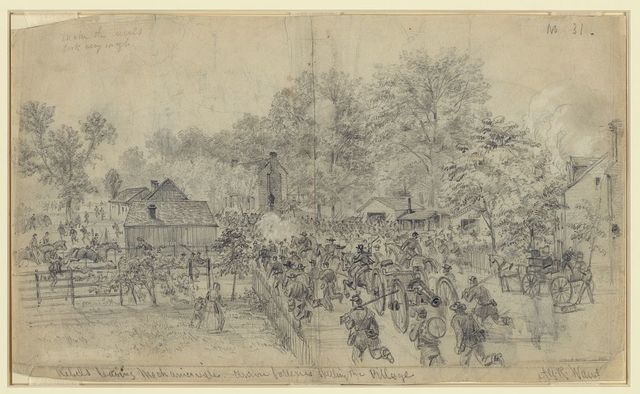 Rebels leaving Mechanicsville. Union batteries shelling the Village