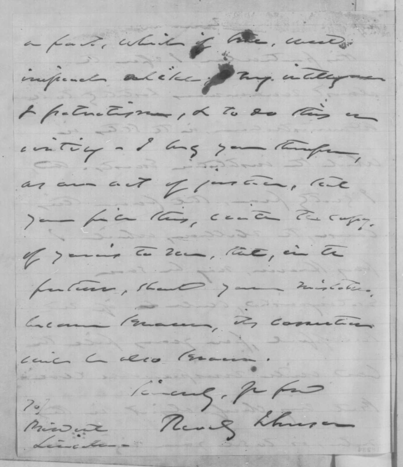 Reverdy Johnson to Abraham Lincoln, Friday, September 05, 1862  (Response to Lincoln's letter of July 26)