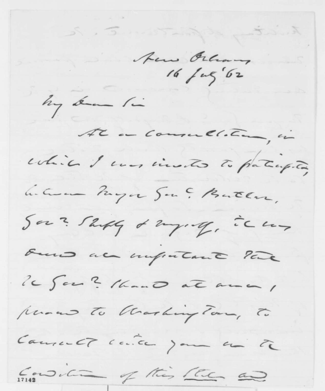 Reverdy Johnson to Abraham Lincoln, Wednesday, July 16, 1862  (Affairs in New Orleans)