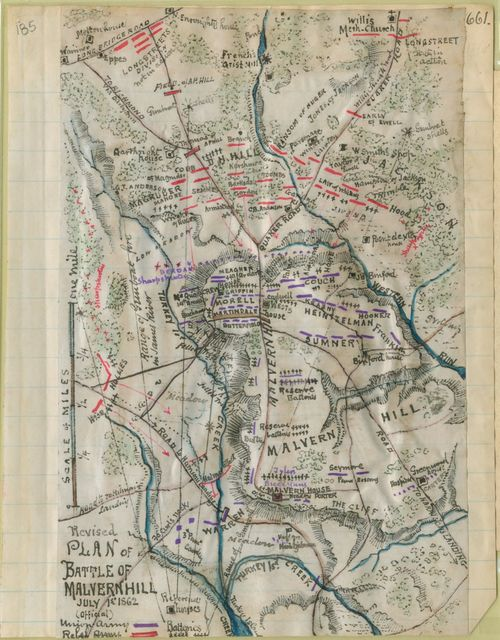 Revised plan of battle of Malvern Hill, July 1st, 1862 (official).