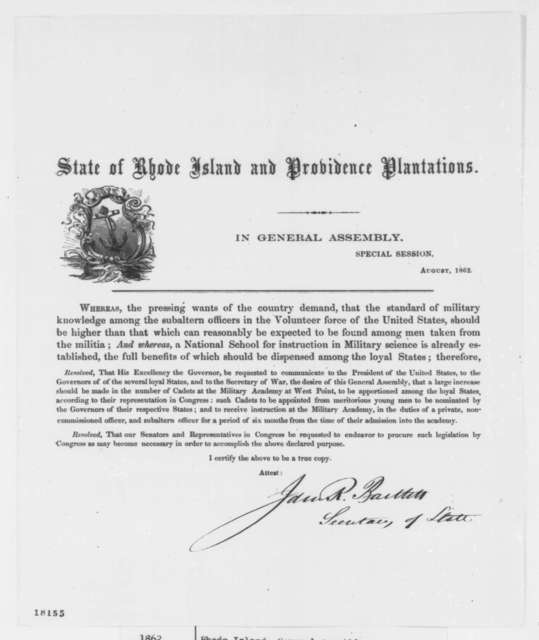 Rhode Island Legislature, August 1862  (Printed Resolutions)