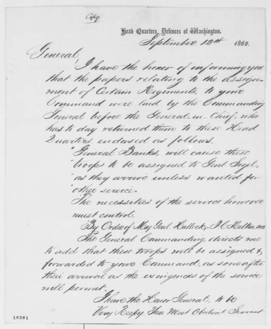 Richard B. Irwin to Franz Sigel, Friday, September 12, 1862  (Military affairs)