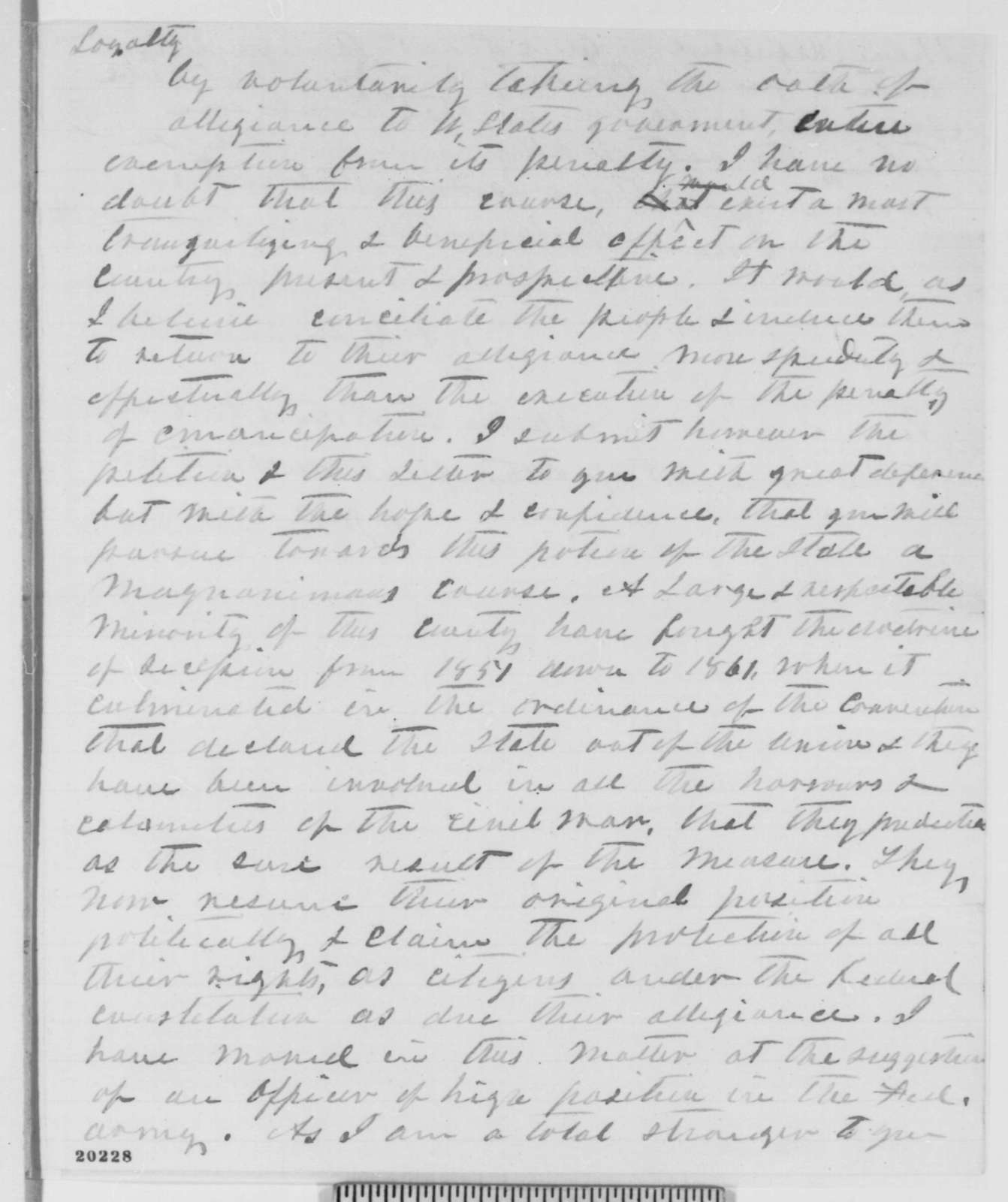Richard H. Parham Sr. to Abraham Lincoln, Tuesday, December 16, 1862  (Emancipation Proclamation and affairs in Mississippi)