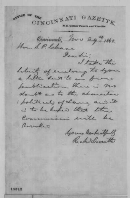 Richard Smith to Salmon P. Chase, Saturday, November 29, 1862  (Cover letter)
