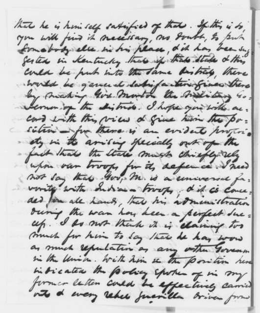 Richard W. Thompson to Abraham Lincoln, Monday, August 18, 1862  (Situation in Kentucky)
