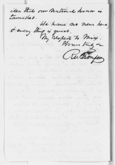 Richard W. Thompson to Unknown, Wednesday, January 01, 1862  (Sends article on Trent Affair)
