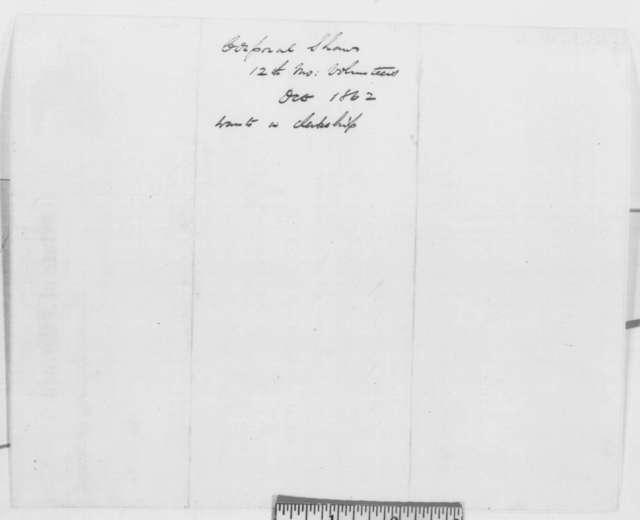 Richard Yates to Army Quartermaster, Friday, July 25, 1862  (Recommendation)
