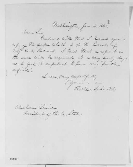 Robert C. Schenck to Abraham Lincoln, Saturday, January 04, 1862  (Cover letter)