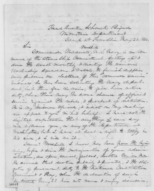 Robert C. Schenck to Abraham Lincoln, Wednesday, May 21, 1862  (Recommendation)