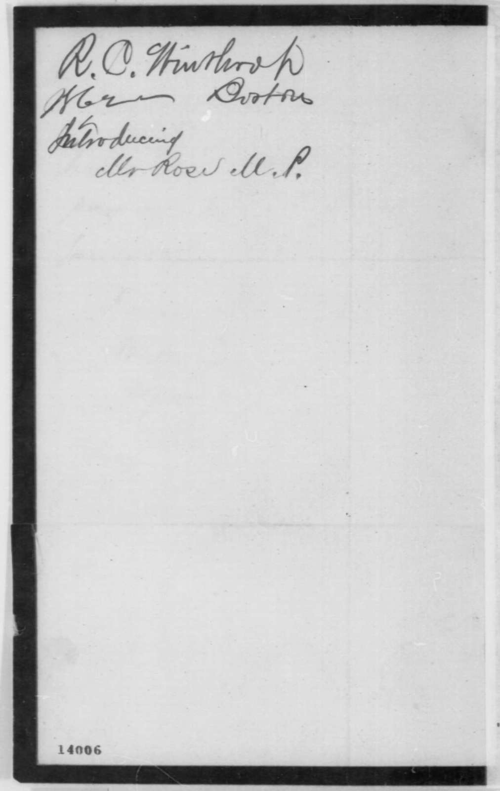 Robert C. Winthrop to Abraham Lincoln, Tuesday, January 14, 1862  (Introduction)