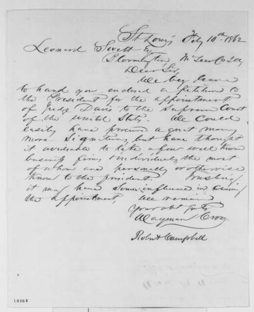 Robert Campbell and Wayman Crow to Leonard Swett, Monday, February 10, 1862  (Cover letter)
