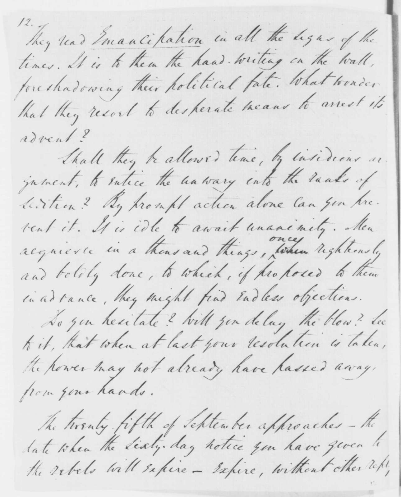 Robert Dale Owen to Abraham Lincoln, Wednesday, September 17, 1862  (Recommends emancipation proclamation)