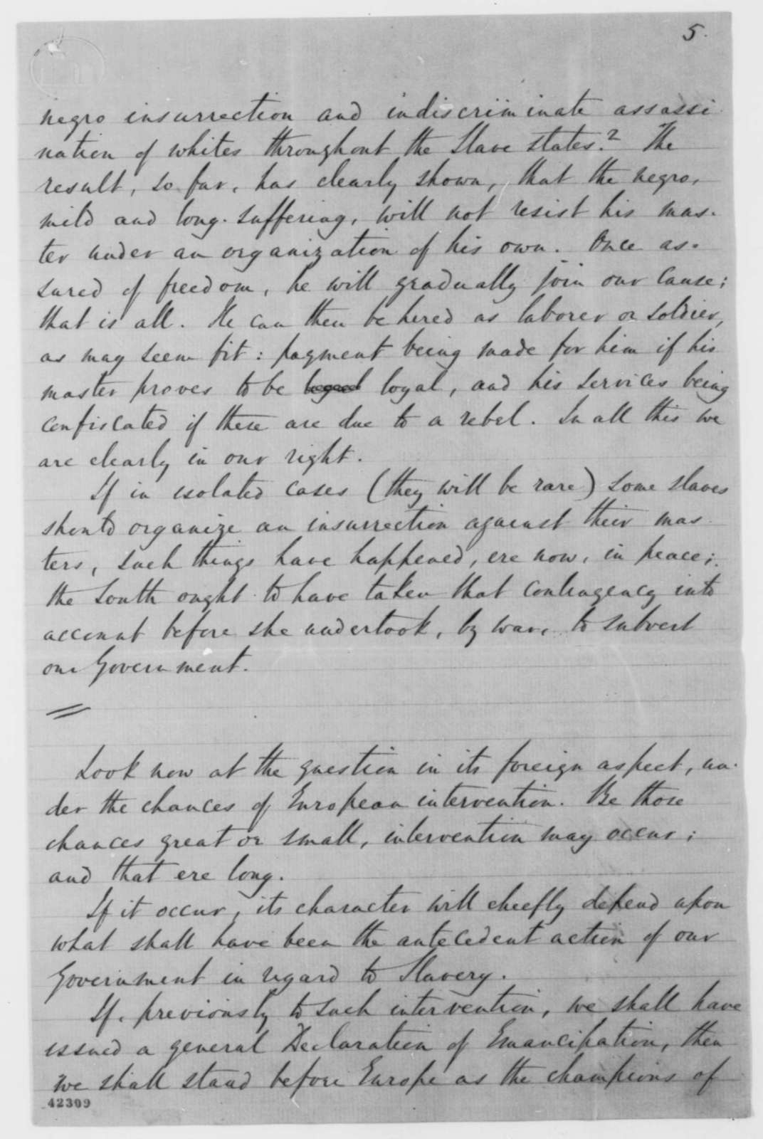 Robert Dale Owen to Edwin M. Stanton, Wednesday, July 23, 1862  (Emancipation; endorsed by Peter H. Watson)