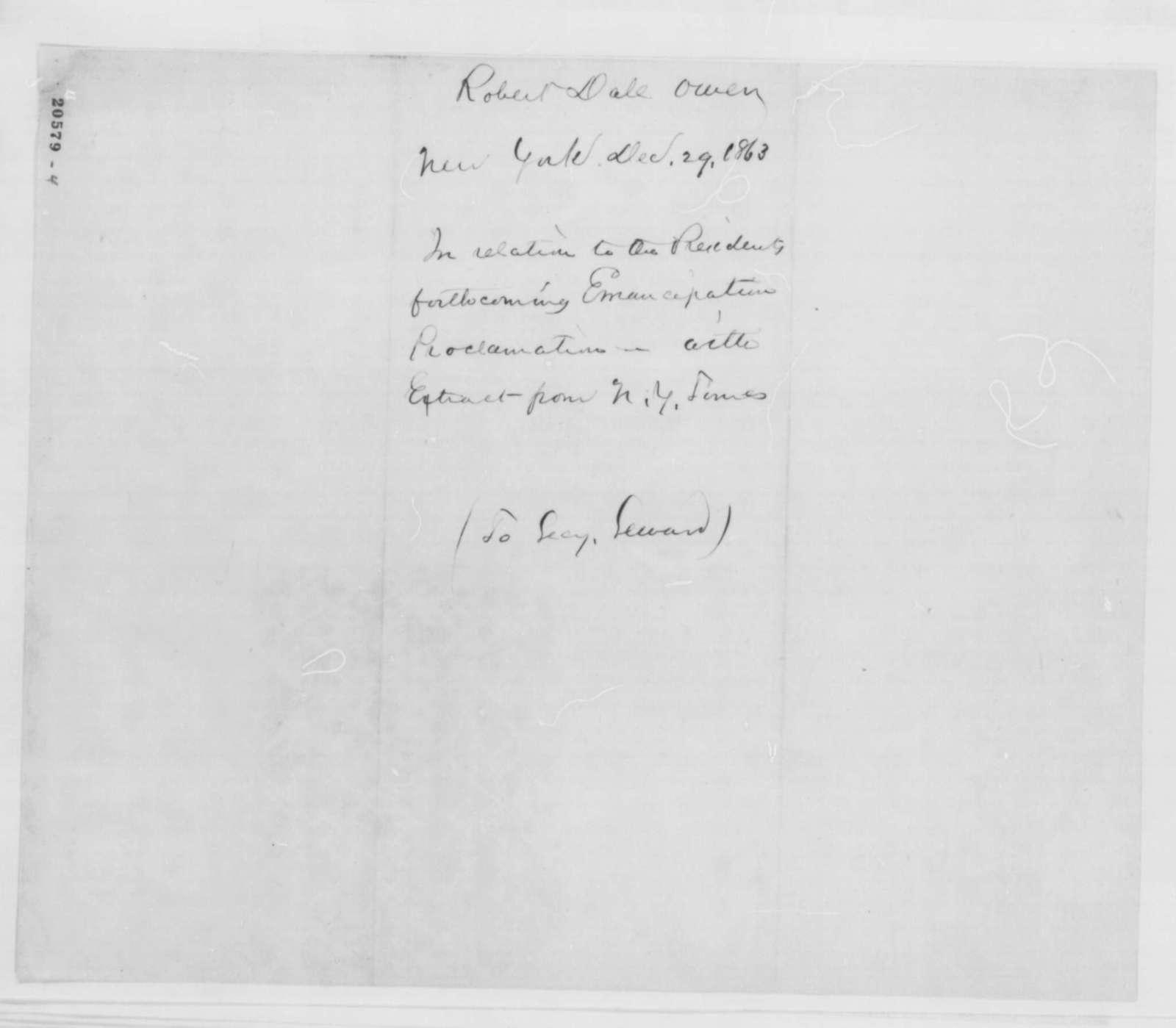 Robert Dale Owen to William H. Seward, Monday, December 29, 1862  (Emancipation Proclamation)