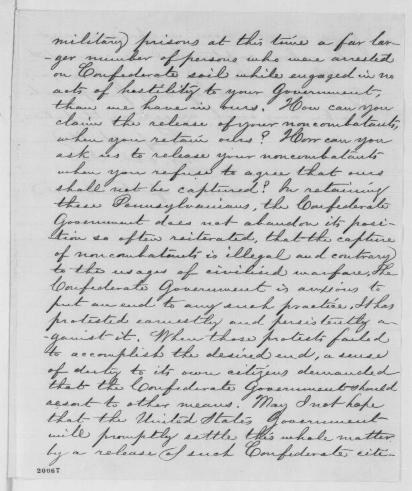 Robert Ould to William H. Ludlow, Thursday, December 11, 1862  (Release of captured civilians)