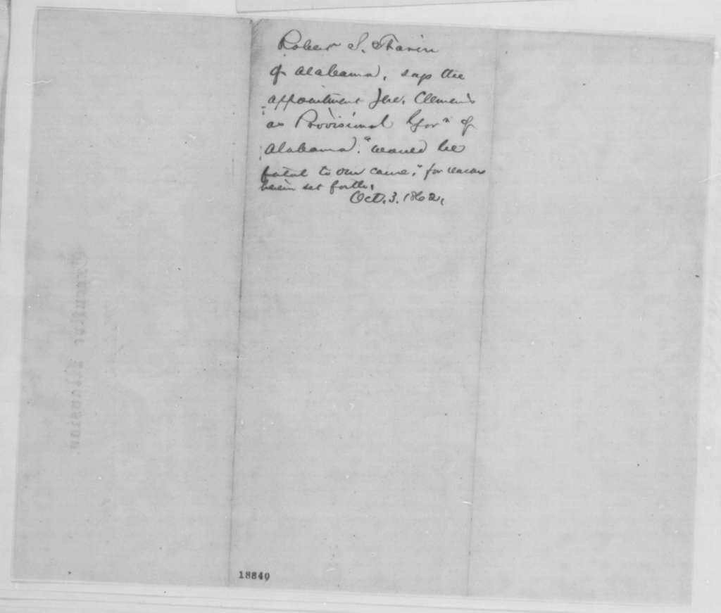 Robert S. Tharin, Friday, October 03, 1862  (Deposition regarding Jeremiah Clemens)