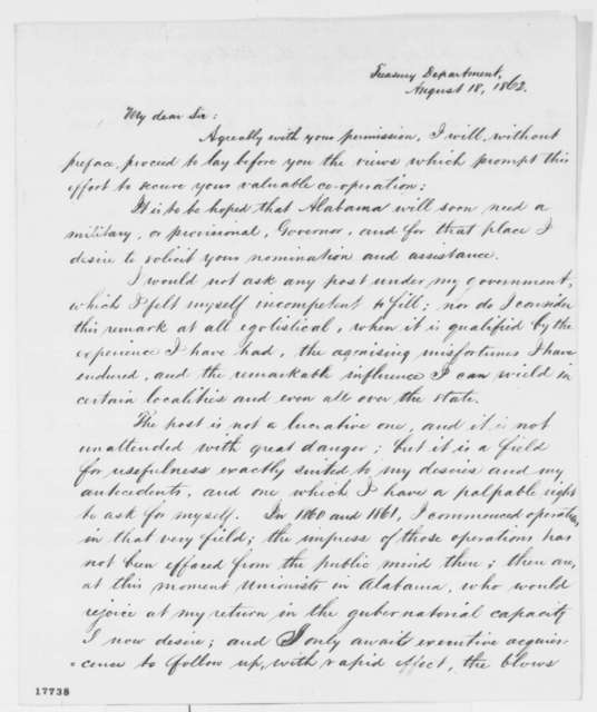 Robert S. Tharin to Caleb B. Smith, Monday, August 18, 1862  (Seeks position as governor of Alabama)