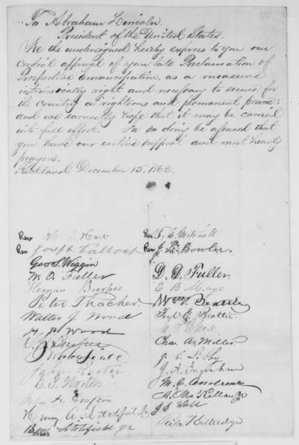Rockland Maine Citizens to Abraham Lincoln, Monday, December 15, 1862  (Petition supporting emancipation)