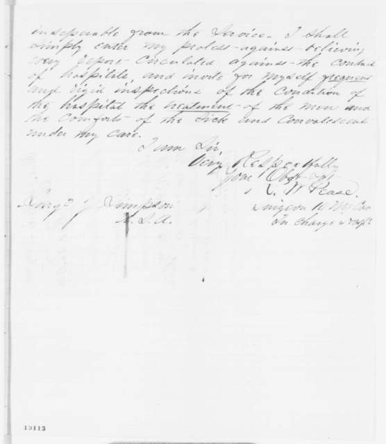 Roger W. Pease to Josiah Simpson, Monday, October 20, 1862  (Conditions at Baltimore hospital)