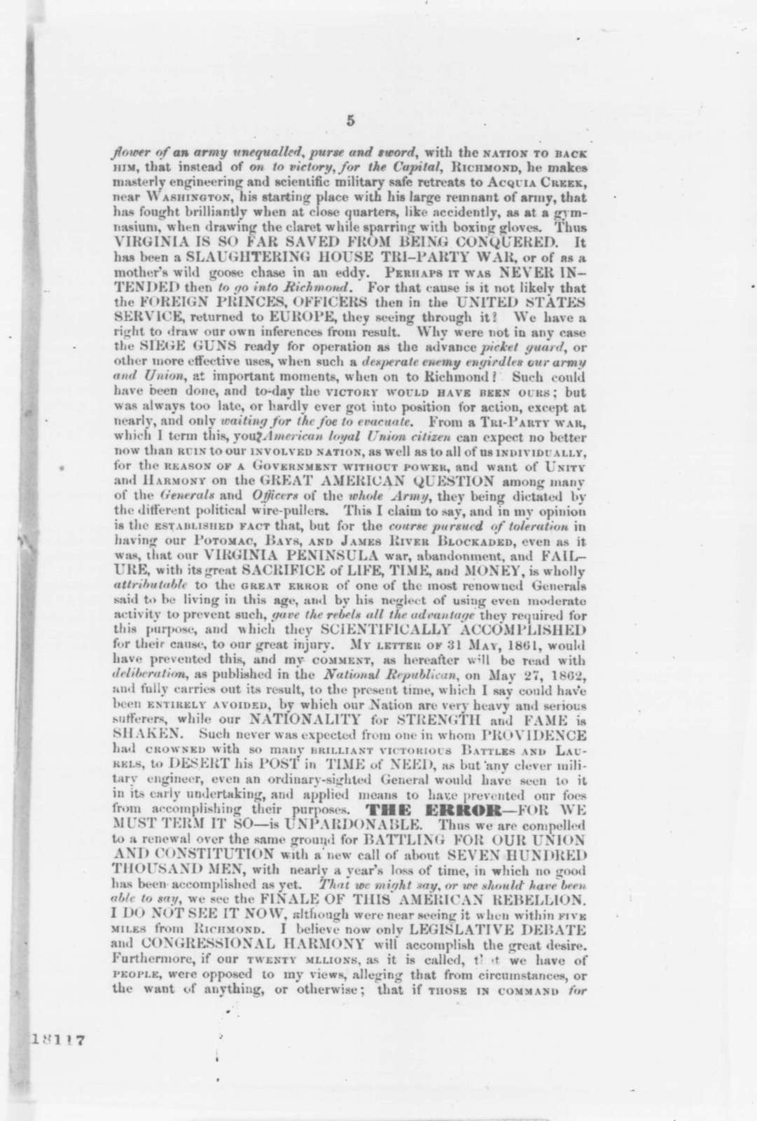 Rowland Cromelien, Saturday, August 30, 1862  (Pamphlet)