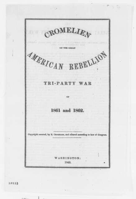Rowland Cromelien, Saturday, August 30, 1862  (Pamphlet)