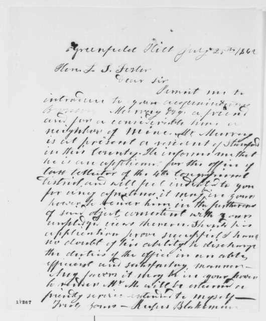 Rufus Blakeman to Lafayette S. Foster, Friday, July 25, 1862  (Introduction)
