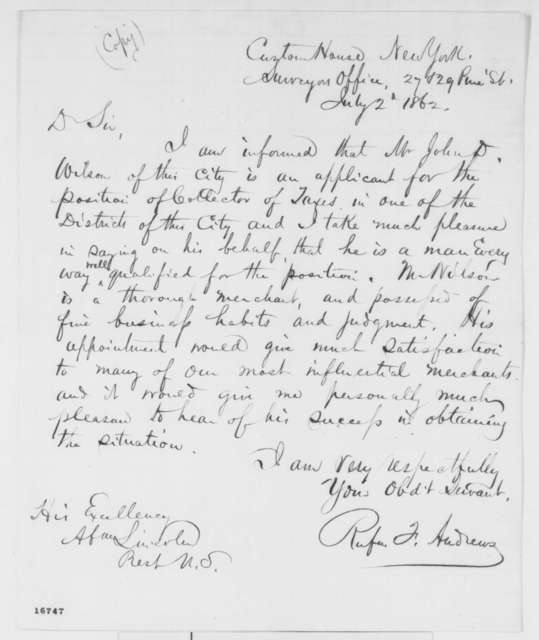 Rufus F. Andrews to Abraham Lincoln, Wednesday, July 02, 1862  (Recommendation)