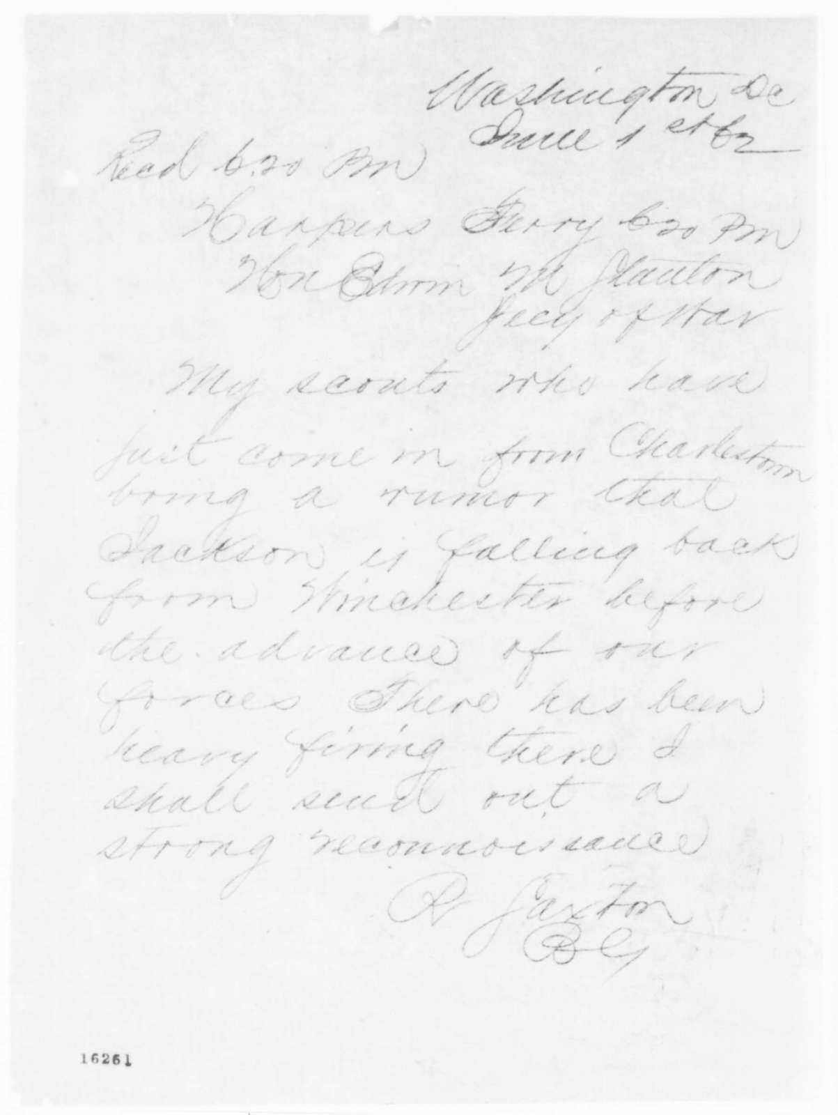 Rufus Saxton to Edwin M. Stanton, Sunday, June 01, 1862  (Telegram regarding military affairs)