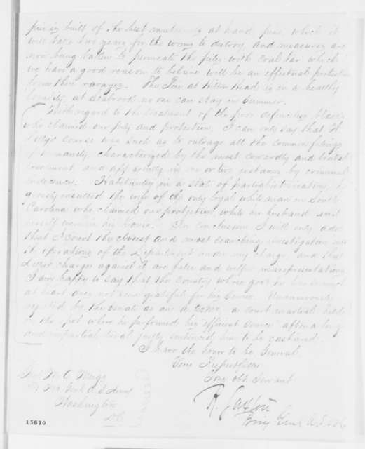 Rufus Saxton to Montgomery C. Meigs, Saturday, April 19, 1862  (Affairs at Port Royal)