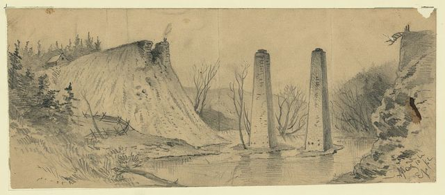 [Ruins of the Acquia Creek and Fredericksburg R.R. bridge, over Potomac Creek] / EF.