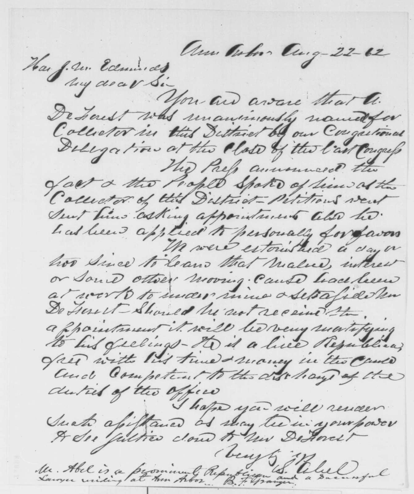 S. Abel to James M. Edmunds, Friday, August 22, 1862  (Michigan appointment; endorsed by Bradley F. Granger)