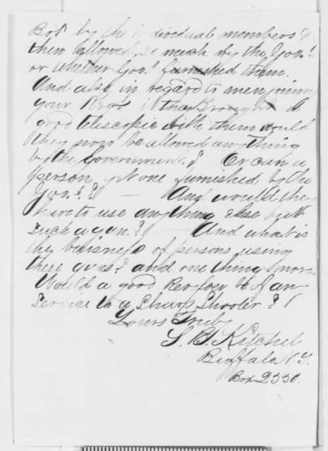 S. B. Kitchel to Hiram Berdan, Sunday, November 23, 1862  (Questions about the rifles used by the sharpshooters)