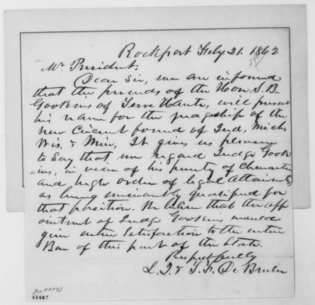 S. F. De Bruler and L. Q. De Bruler to Abraham Lincoln, Friday, February 21, 1862  (Recommendation)