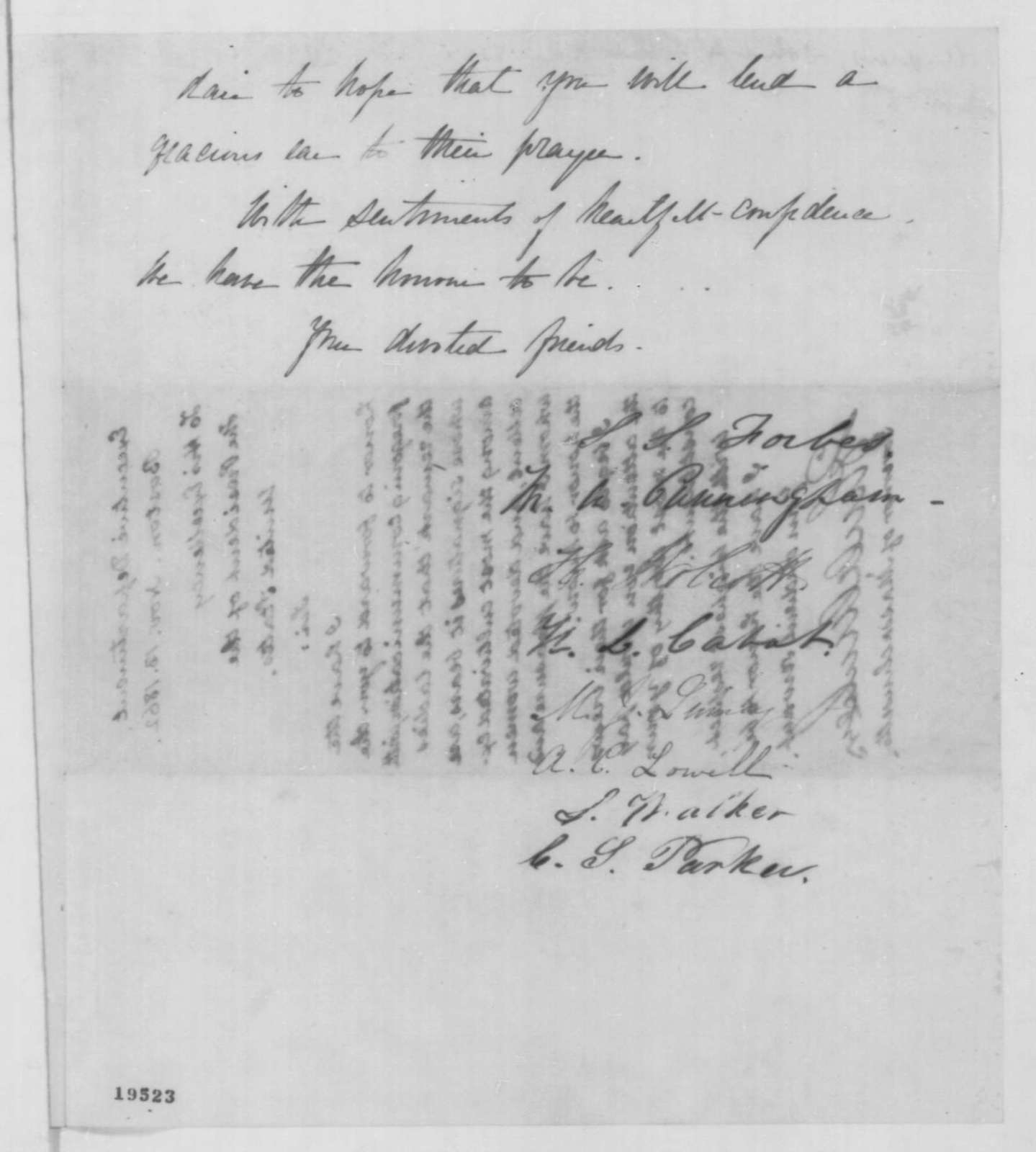 S. S. Forbes, et al. to Abraham Lincoln, Thursday, November 13, 1862  (Sends petition; endorsed by John A. Andrew)