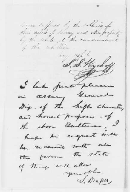 S. S. Wyckoff to John A. Dix, Tuesday, December 02, 1862  (Request for persons to retrieve oysters; endorsed by Simeon Draper)