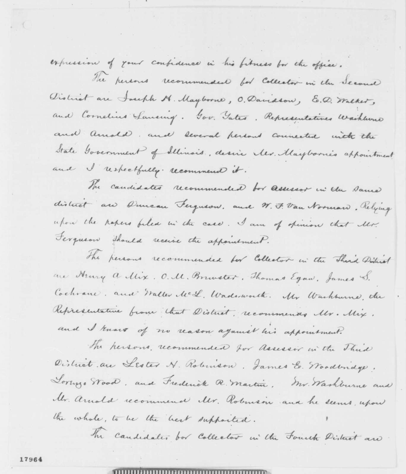 Salmon P. Chase to Abraham Lincoln, Monday, August 25, 1862  (Illinois appointments)