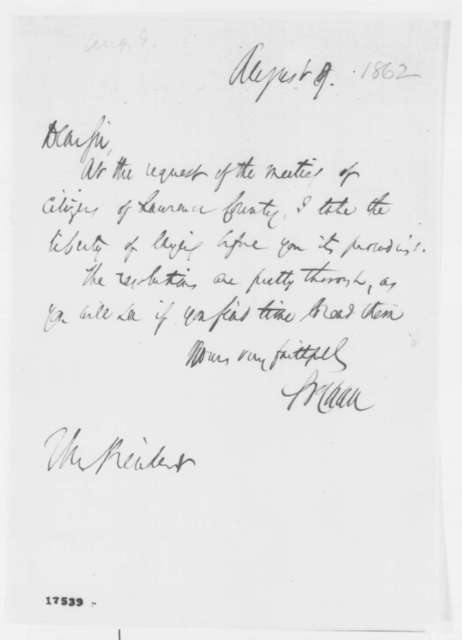 Salmon P. Chase to Abraham Lincoln, Saturday, August 09, 1862  (Sends resolutions from Lawrence County)