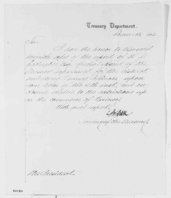 Salmon P. Chase to Abraham Lincoln, Saturday, December 13, 1862  (Cover letter)